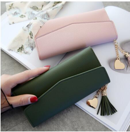 Fashion Womens Wallets Simple Zipper Purses Black White Gray Red Long Section Clutch Wallet Soft PU Leather Money Bag