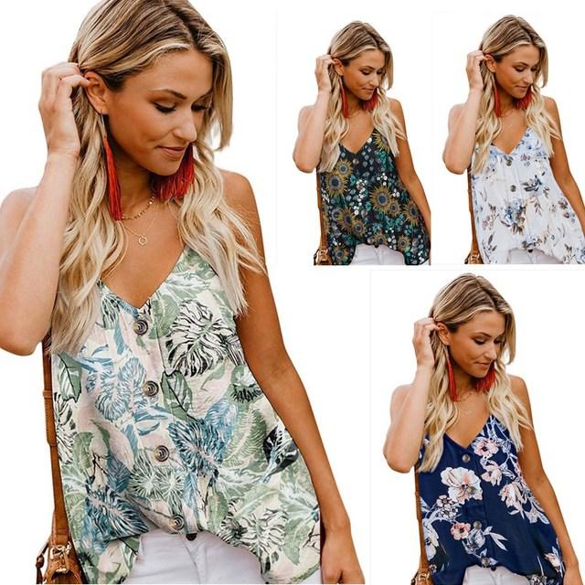 Women Sling Chiffon Tank Casual V Neck Button Up Top Summer Sexy Sleeveless Shirt Women Floral Print Basic Blouse Vest Plus Size