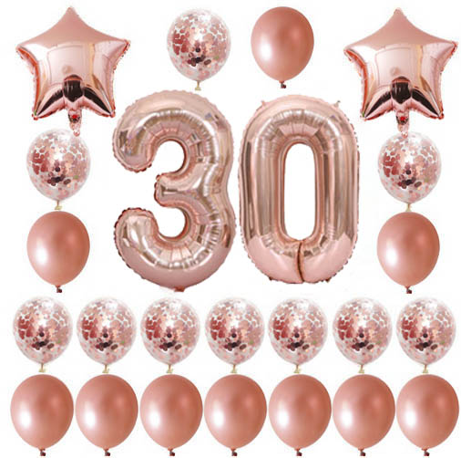 24pcs/lot Adult Happy Birthday Balloons 18 21 30 50th Rose Gold Birthday Party Balloon Confetti Globos Anniversary Party Decor