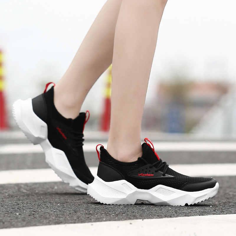 Pattini Delle Donne di modo 2019 autunno nuova maglia nera scarpe studenti selvaggio sport casuali piccole scarpe bianche da donna traspirante scarpa da tennis
