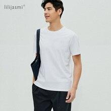 Männer der Mercerisierter Baumwolle 100% Baumwolle Rundhals T shirt High end Einfache Grundlegende T shirt Männer Kurzarm Weiß Schwarz kühlen Weiche T