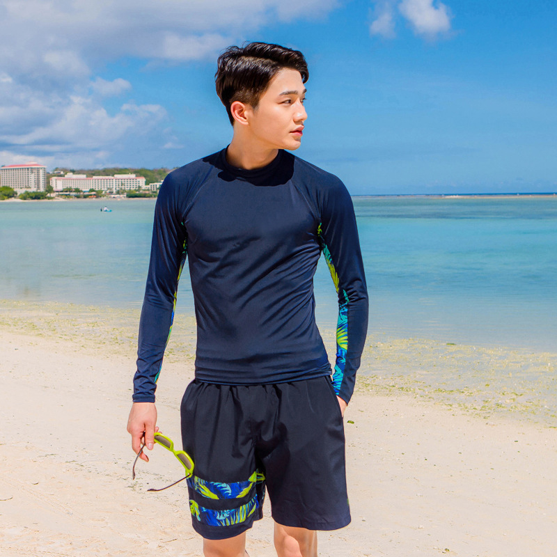 2017 South Korea Men's Swimsuit Set Long Sleeve Swimwear Sports Diving Suit Hot Springs Bathing Suit