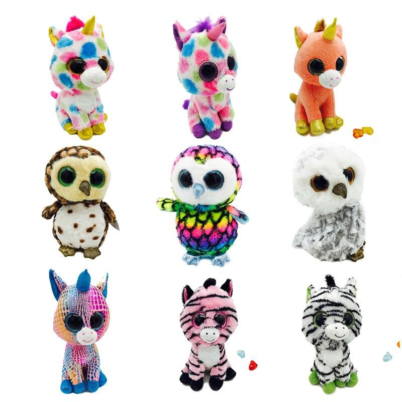 15cm SIMCASTLE Beanie Boos Cute Big Eye Plush Toy Animal Series Soft Dolls Big-eyed Stuffed Animal Doll Kid Toys Fox Dog Unicorn