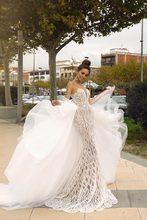 الملكي أناقة مثير الثقيلة مطرز Vestido De Noiva حورية البحر الوهم BodiceWedding فستان 2020 انفصال قطار 2 في 1 زي العرائس