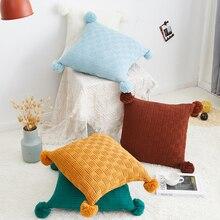 Funda de cojín con pompones Vintage amarillo azul verde rosa verde café amarillo funda de almohada 45cm * 45cm Zip abierto decoración del hogar sofá cama