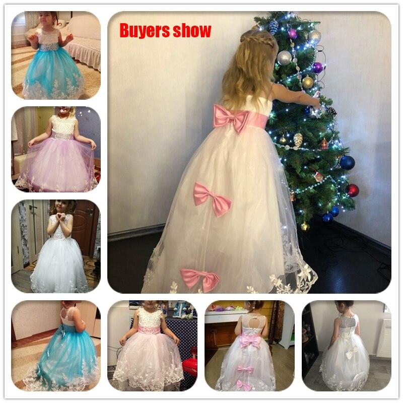 2021 Girls Christmas Dress White Bridesmaid Kids Clothes Girls Children Long Princess Dress Party Wedding Dress 14 10 12 Years 6