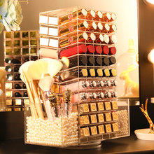 110 Lattices Acrylic Lipstick Tower 360 Degree Rotating Lipstick Rack with 2 Makeup Brush Holders As A Gift for Girl/Women/Lady(China)