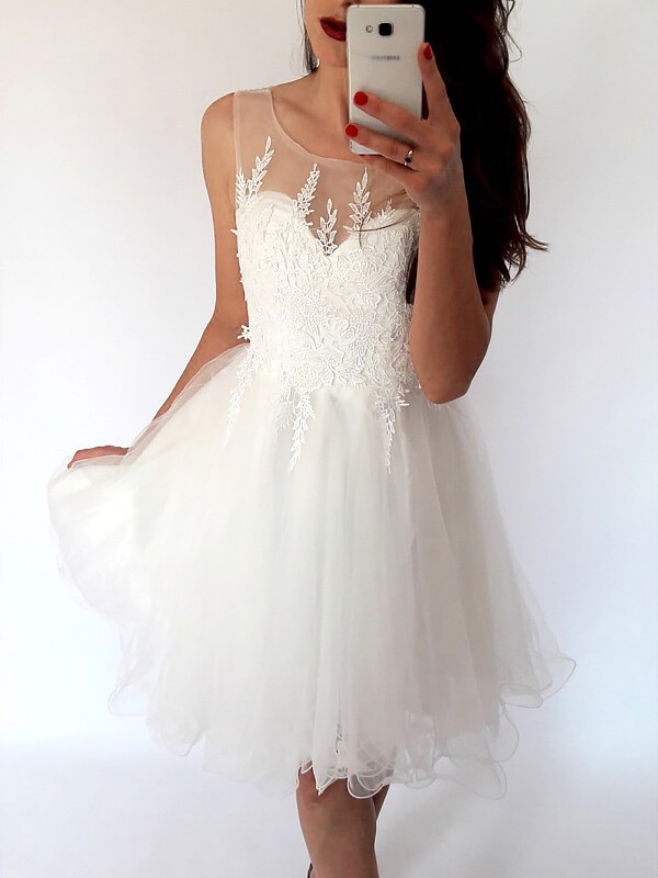2020 White Cocktail Dress A-Line/Princess Scoop Sleeveless Tulle Short/Mini Dresses For Party