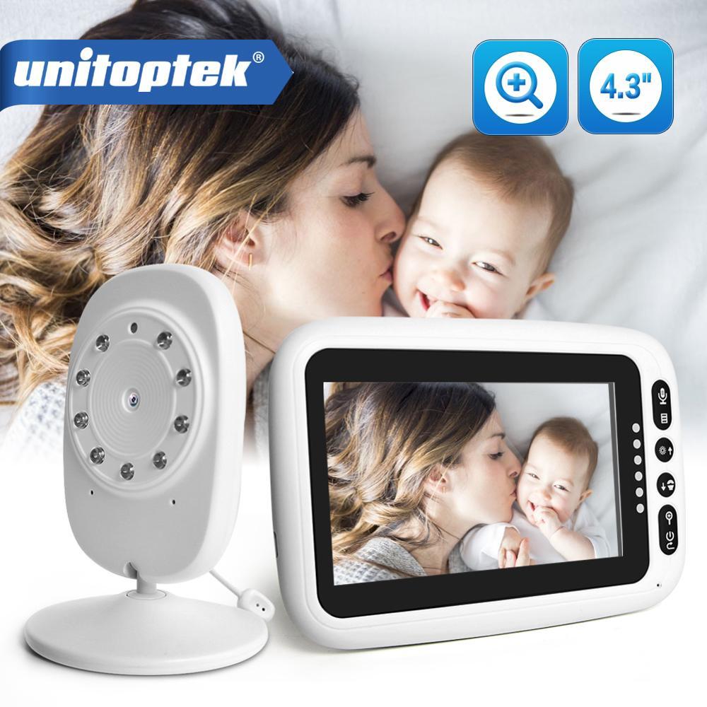 Radio opiekunka do dziecka 4.3 cal Monitor LCD opiekunka IR Night Vision domofon kołysanki Monitor temperatury/Alarm Zoom Monitor