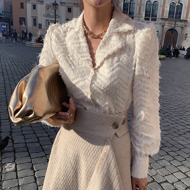 XIBUSANA Elegant Notched Collar Women Tassels Blouses 2021 Spring New Long Sleeve Single-breasted Female Workwear Shirts Tops 2