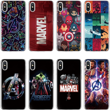 Marvel SuperheroSoft TPU Silicone Batman Cover For iPhone 5 5S SE 6 7 8 Plus X XS XR XS Max Coque The Avengers For iPhone 7 Case(China)