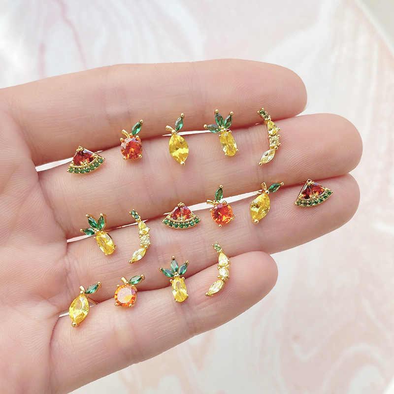 Pendiente de circón dorado plateado S925 Anti-alergia 18k, pendientes de perlas de fruta a la moda Piña de cristal plátano manzana melocotón limón