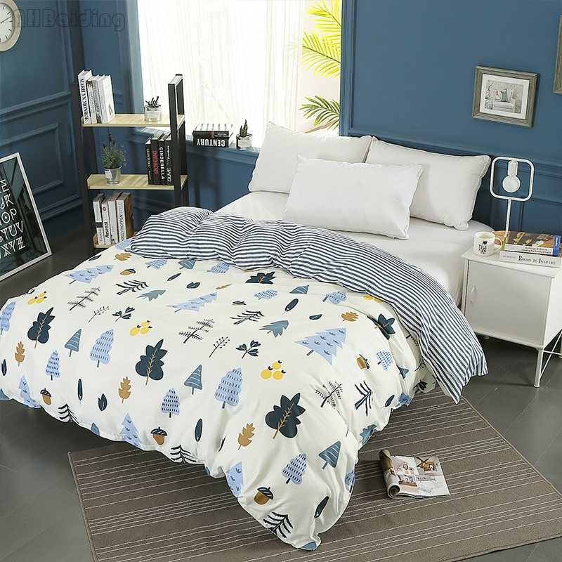 Cartoon Winter Forest Printing Duvet Cover with Zipper 100% Cotton Quilt Cover Soft Comforter Cover Twin Full Queen King Size