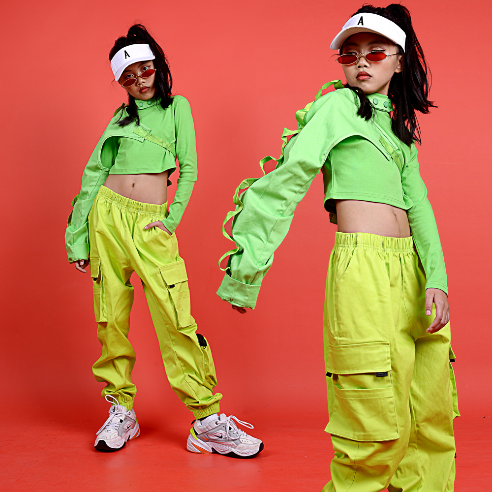 Girls Jazz Dance Costumes Fluorescent Green Outfits Street Dance Show Stage Costume Ballroom Hip Hop Practice Clothing DQS3064