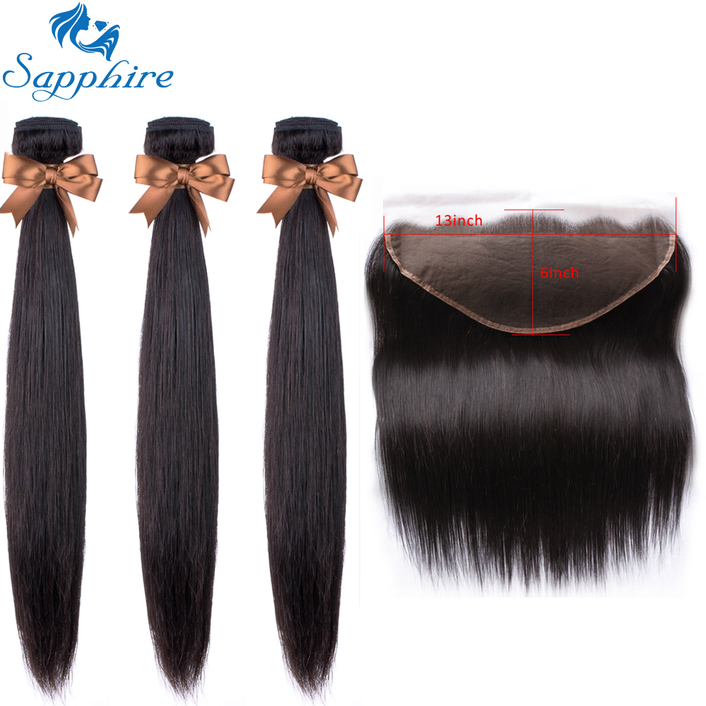Sapphire Straight Human Hair 3 Bundles With Frontal Closure Malaysian Remy Hair Pre Plucked Lace Frontal Closure With Bundles