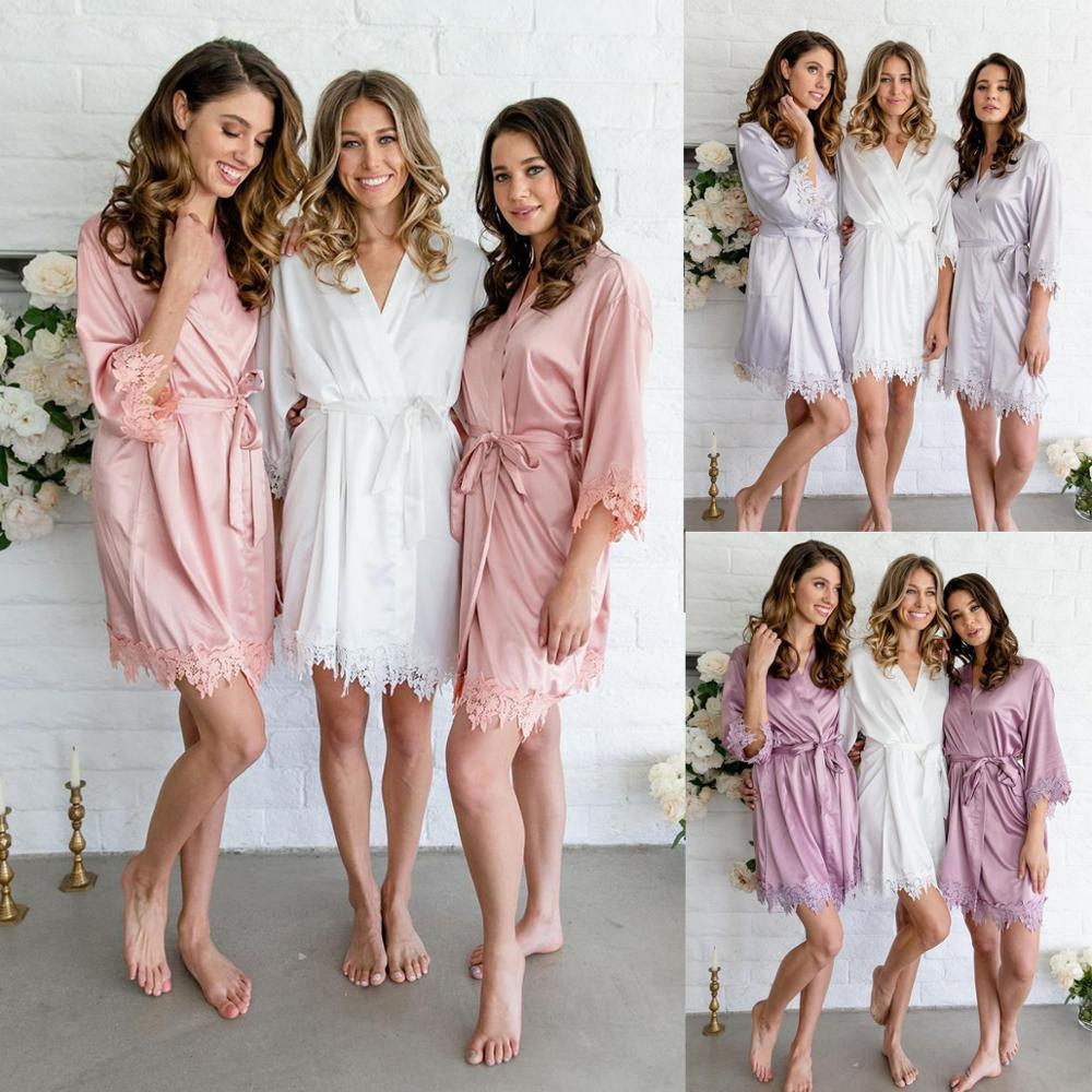 New Lace Robe, Silk Robe,Bridesmaid Robes ,Lace Bride Robe, Women Robe, Bridal Robes A9008