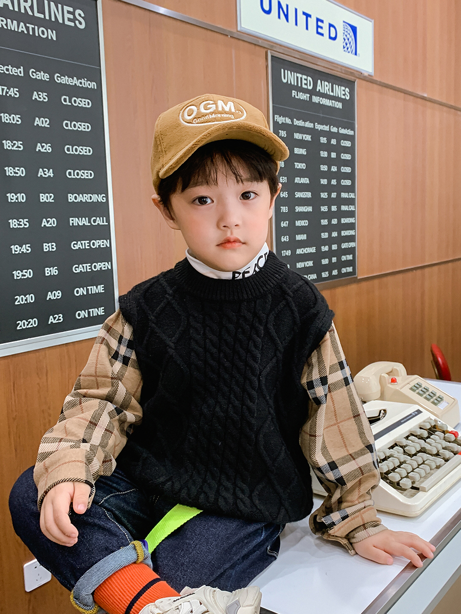 Boys' Knitted Sweater Pullover Autumn and Winter 2021 New Style Fashion Korean Style Autumn Top Children's Clothing 4