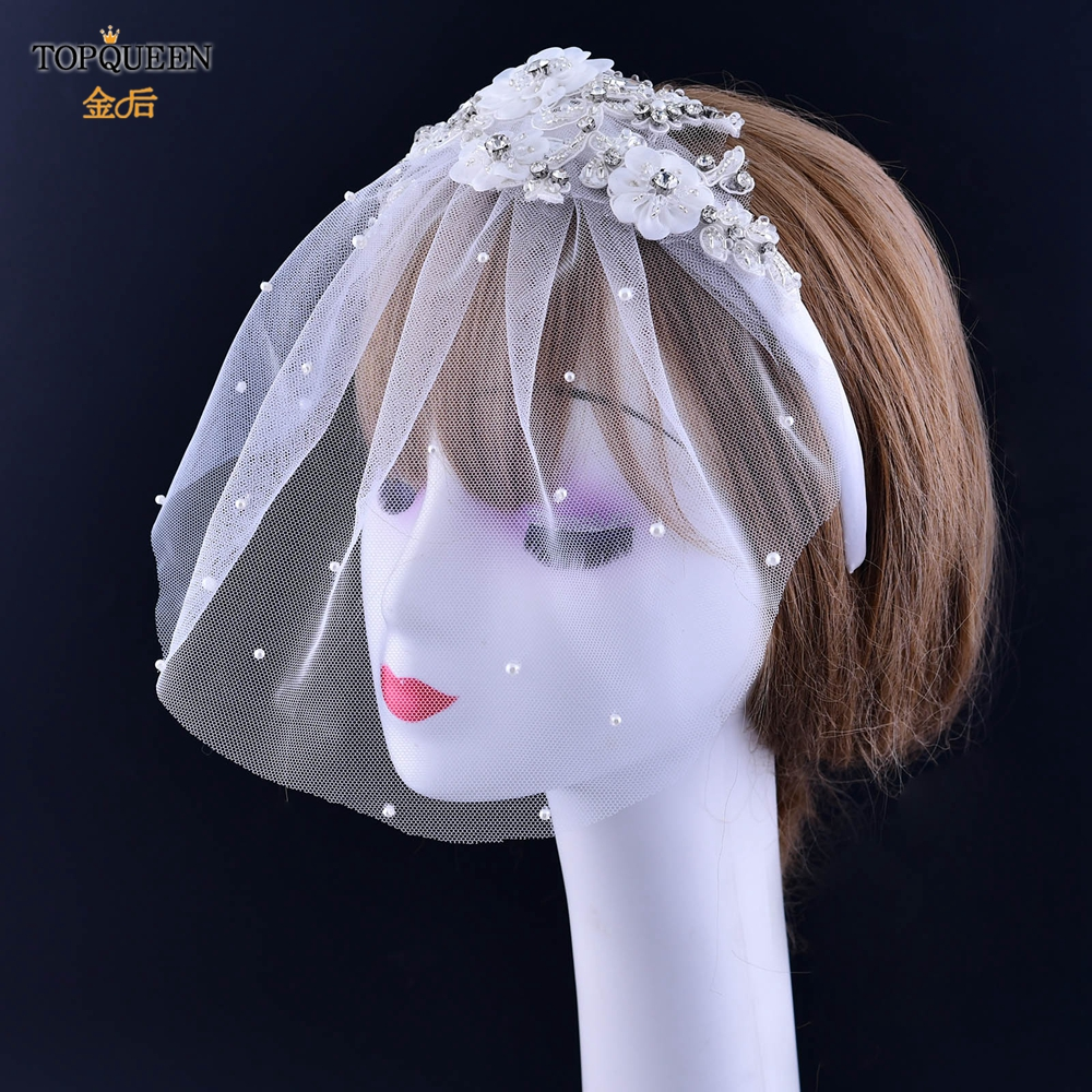 TOPQUEEN FG19 Fascinator Bride Face Veils Wedding bride Hats 2020 Bridal Flower Applique Fascinator Bridal Net  Veil for party