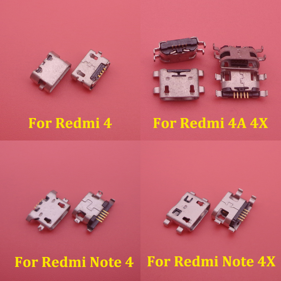 10pcs Mini Micro USB Charge Charging Dock Port Connector Socket Power Plug Jack For Xiaomi Redmi 4 4A 4X Note 4 4X