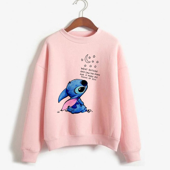 Kawaii Stitch Crewneck Sweatshirt Women Cute Anime Lilo and Stitch Hoodie Ladiy Girl Pullover Harajuku Kpop Women's Clothing
