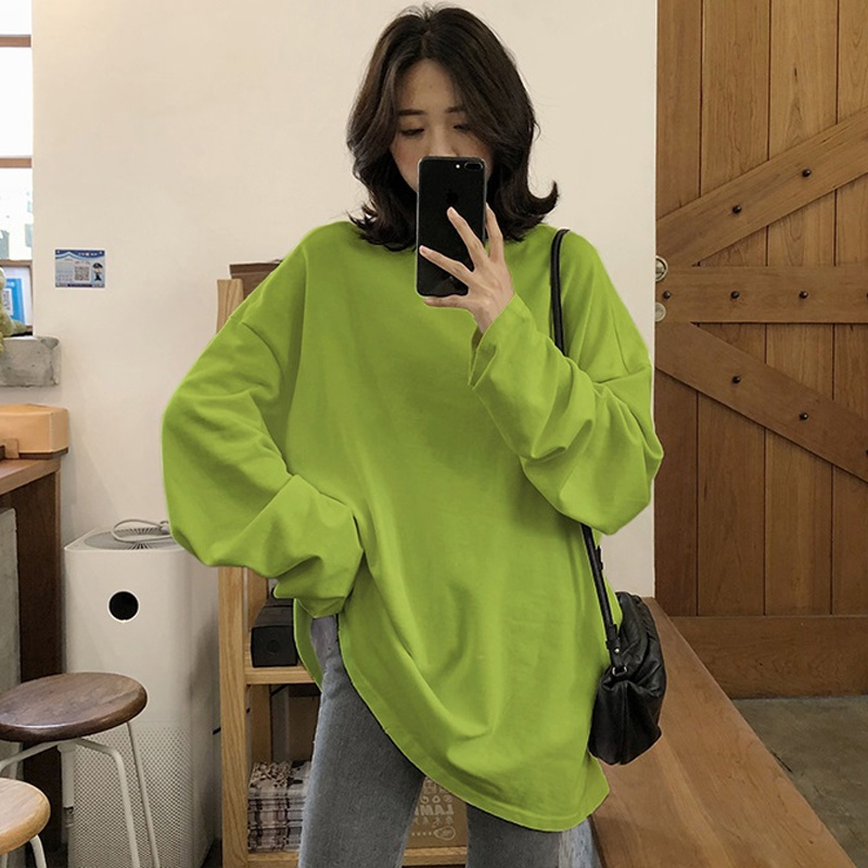 Oversized Long Shirt Women Long Sleeve O-neck Loose Female Blouses And Tops 2020 Autumn Spring Solid Girl White Green Shirt Lady
