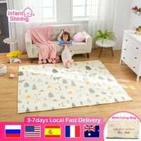 Infant Shining 200cm*180cm*1cm Baby Play Mat Folding XPE Crawling Pad Home Outdoor Folding Waterproof Puzzle Game 1.5cm Playmat