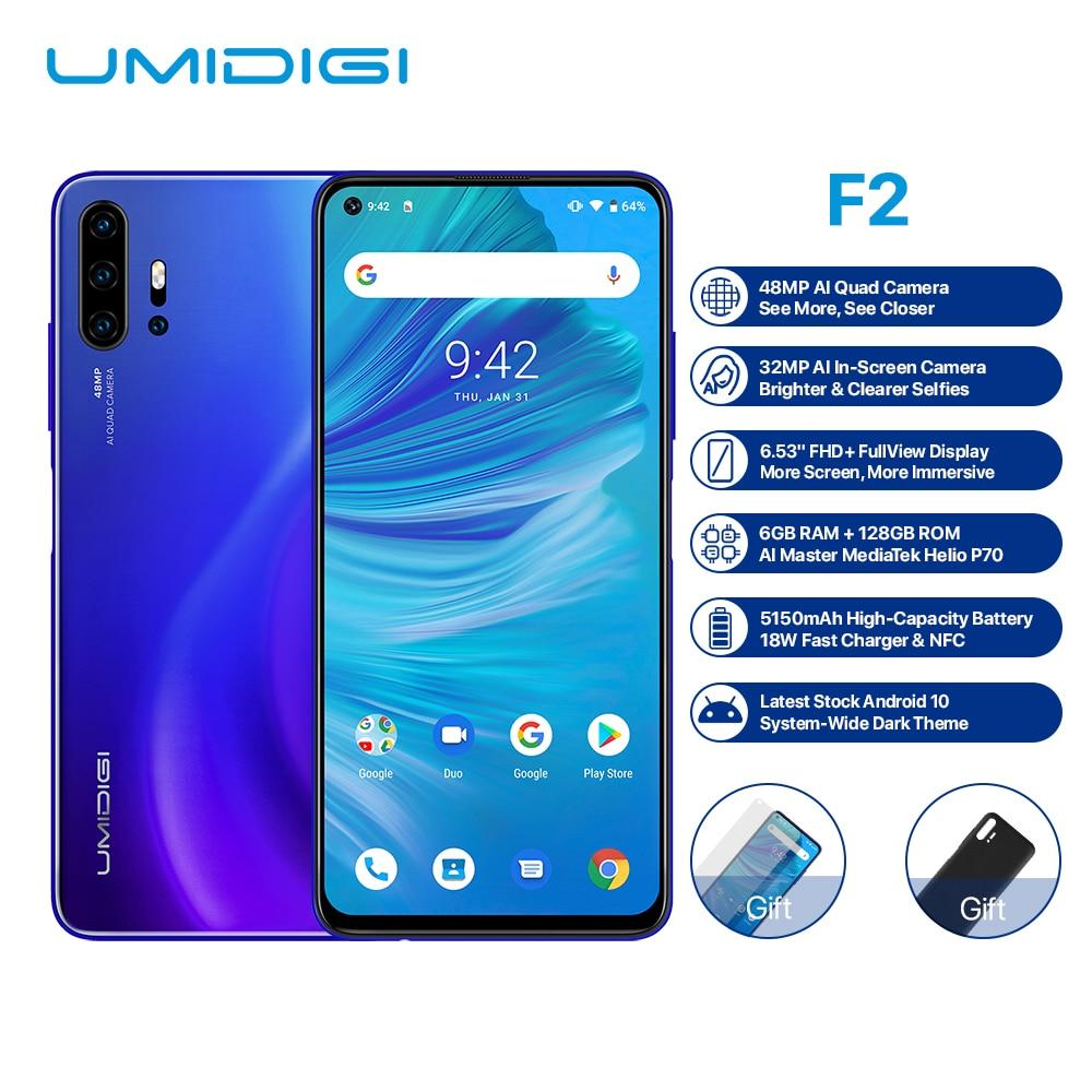 UMIDIGI F2 Smartphone Android 10 Helio P70 48MP AI Quad Cameras 5150mAh 6GB RAM 128GB ROM 6.53