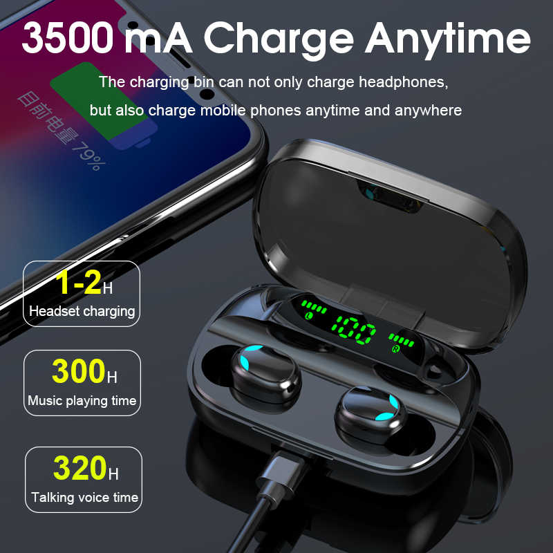 Hembeer Bluetooth 5.0 Wireless Earphone TWS Headphone Kontrol Sentuh Earbud 9D Stereo Headset 3500MAh Power Bank untuk Ponsel