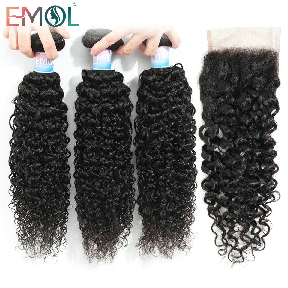 Emol Kinky Curly Hair With Closure 3/4 Human Hair Bundles With Closure Non-Remy Brazilian Hair Weave Bundles