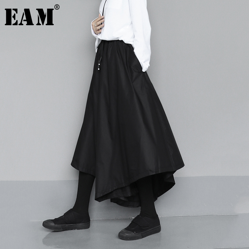 [EAM] High Elastic Waist Black Asymmetrical Long Wide Leg Trousers New Loose Fit Pants Women Fashion Spring Autumn 2020 1N532