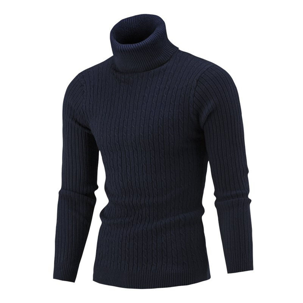 Autumn Winter Mens Sweater Casual Fitness Workout Pullovers Knitted Turtleneck Solid Long Sleeve Sweaters Male Slim Jumper Tops