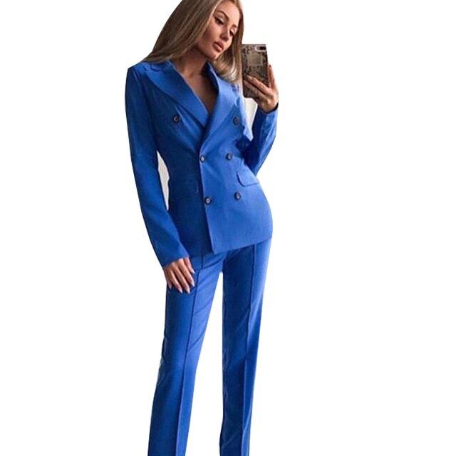 MVGIRLRU ofis Lady Blazer pantolon takım elbise kadın çentikli yaka düğmeleri ceket ve düz pantolon 2 parça setleri