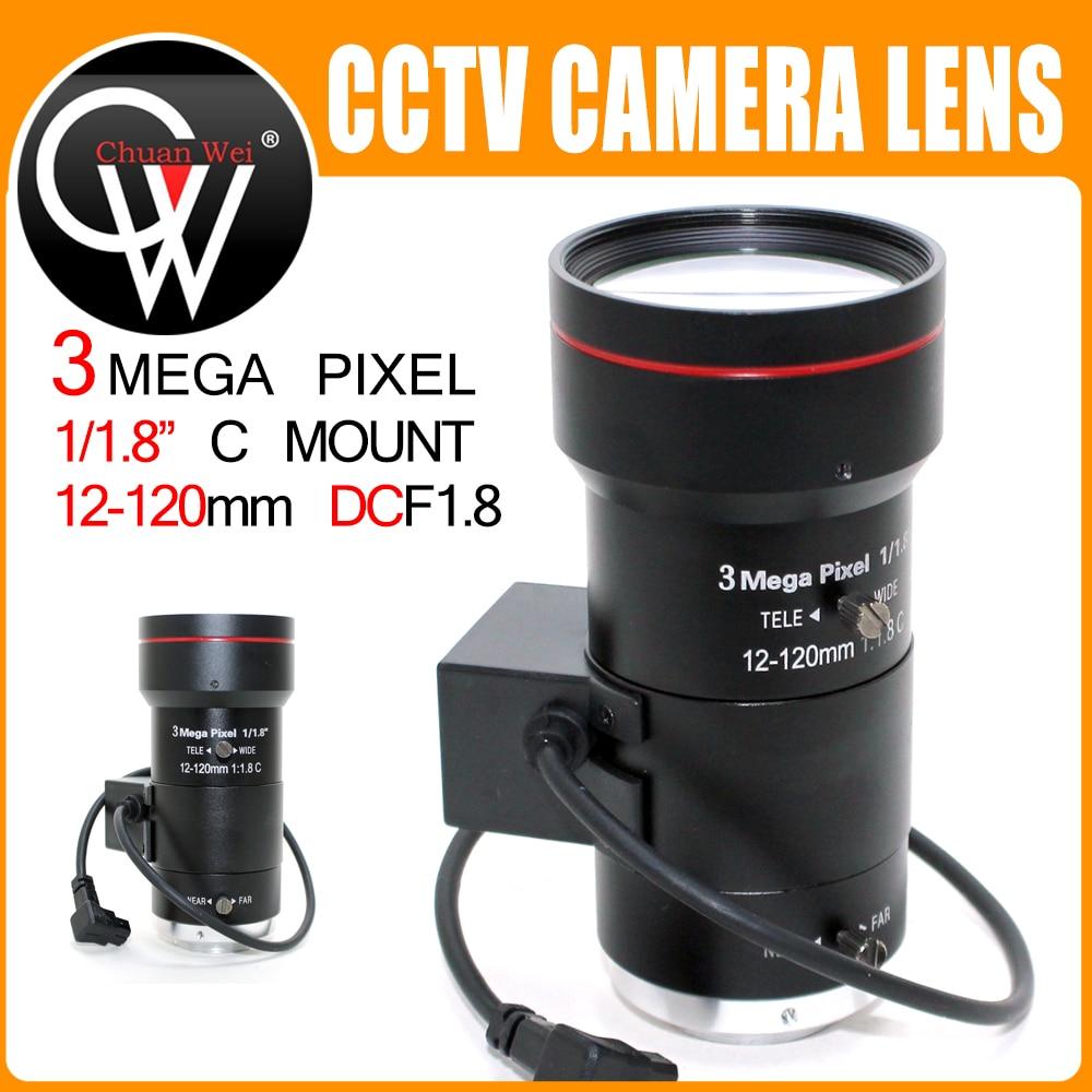 3.0Megapixel Auto Iris Zoom 12-120mm CCTV Varifocal Lens F1.8 C Mount Lens Low Distortion FA Lens For HD Camera