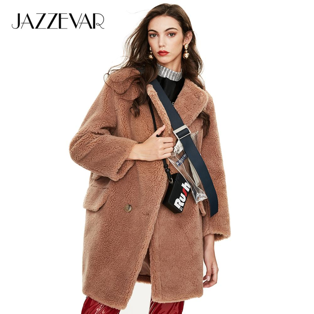 JAZZEVAR 2019 Winter New Arrival Fur Coat Women Loose Clothing High Quality  Mid-length Style Thick Warm Winter Coat K9064-1