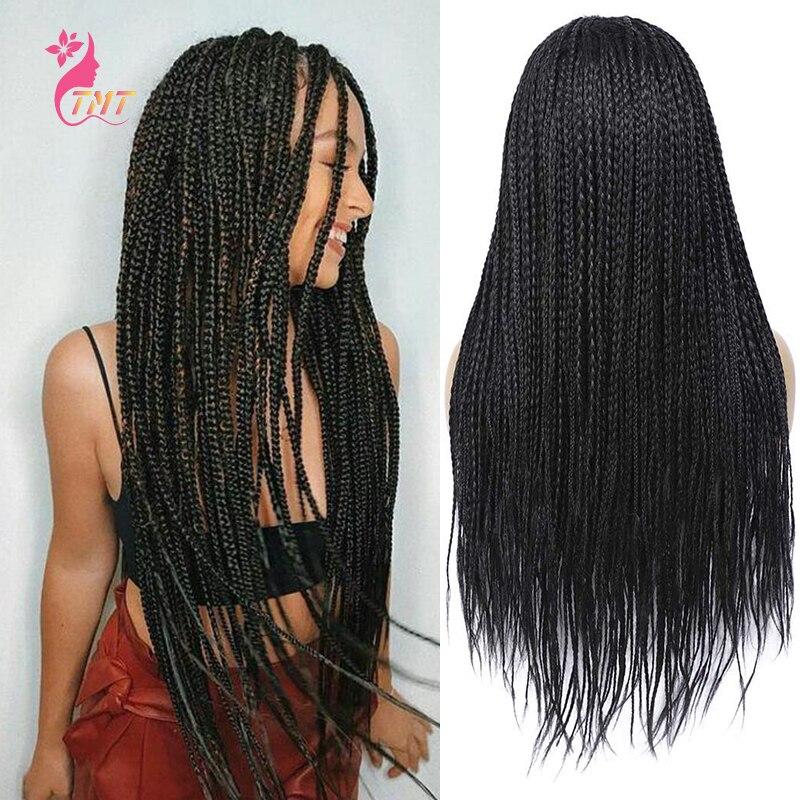 Perruques tressées boîte noire tresses perruques pour femmes noires avec bébé cheveux longs sans colle Micro tresses cheveux de remplacement africains synthétiques