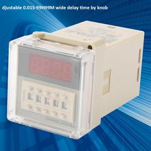 DH48S-1Z AC 220V 50/60HZ Power On OFF Delay Timer Relay 0.01S-99H99M Digital Display Time Relay with Base цена 2017