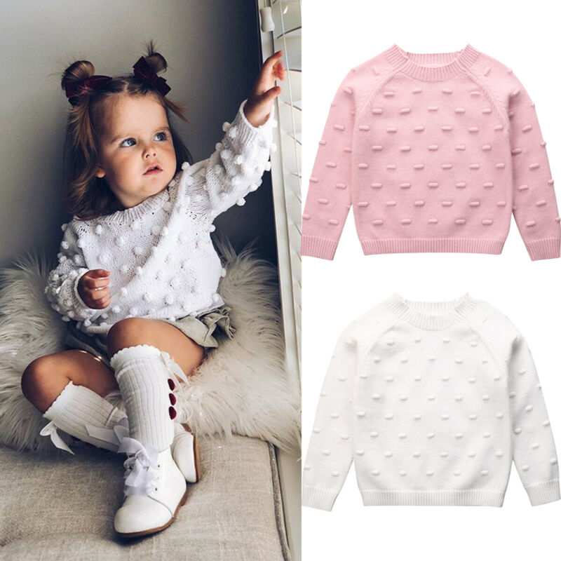 Toddler Infant Baby Girl Knitted Cotton Sweater Kids Long Sleeve O-Neck Pullovers Autumn Winter Casual Clothes For 1-5Years
