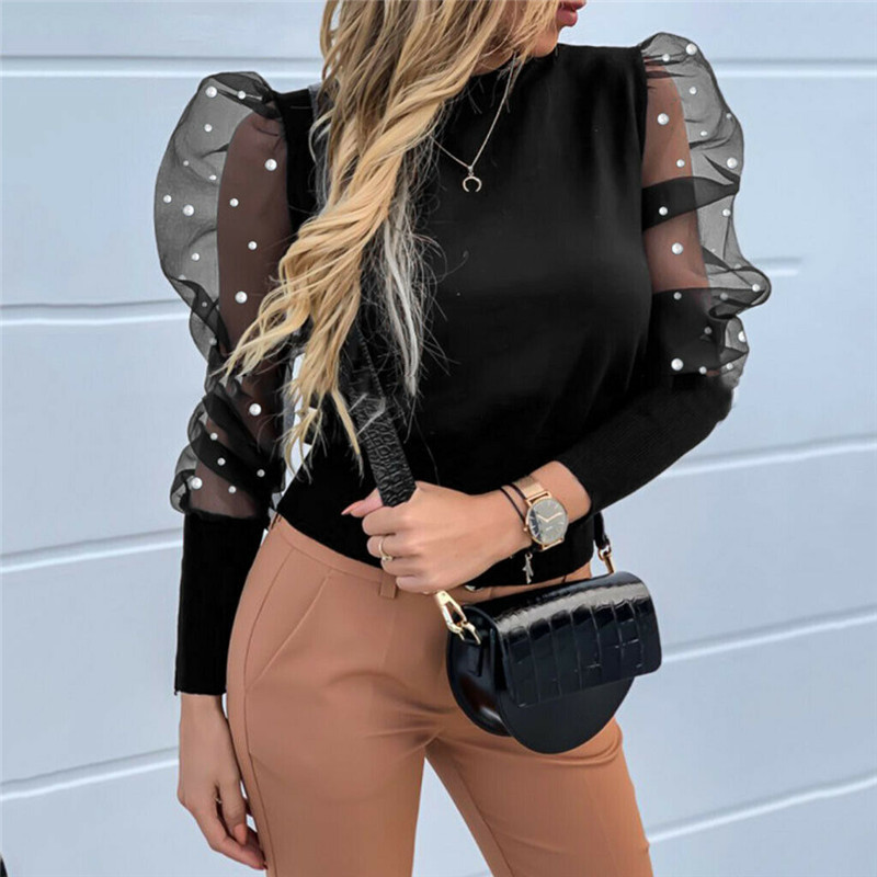 New 2020 Lace Pearls Blouse Shirts Summer Sexy Women Top Mesh See Through Puff Long Sleeve Elegant Famale Blouse Plus Size 2XL