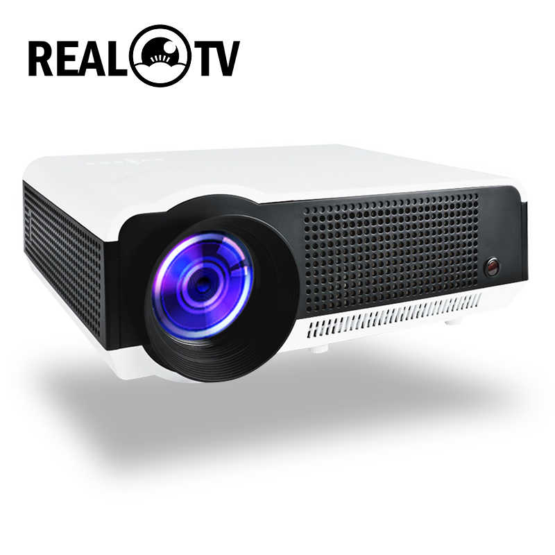 REAL TV LED 86 86W LED Proyektor 4500 Lumens Double HI FI Speaker Android WiFi Bluetooth Mendukung 1080P Beamer