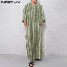 Man Half Sleeve Striped Long Shirts Men Casual Long Robes Muslim Kaftan Shirts Summer Loose Cotton Pockets Jubba Thobe INCERUN 7