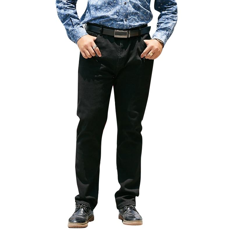 Plus Size 42 44 46 Men's Black Jeans Classic Style Business Fashion Advanced Stretch Regular Fit Denim Trousers Male Brand Pants