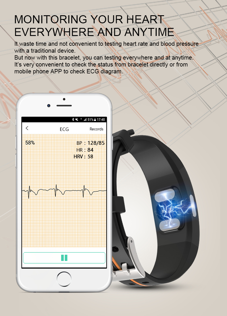 H70b71f7b9cc34825b9d9975aea60d5aef KAIHAI H66 blood pressure measurement band heart rate monitor PPG ECG smart bracelet watch Activity fitness tracker wristband