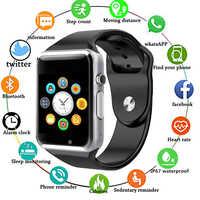 A1 relógio de pulso bluetooth relógio inteligente homem mulher esporte pedômetro pulseira com câmera sim relógio inteligente para android smartphone 1eh