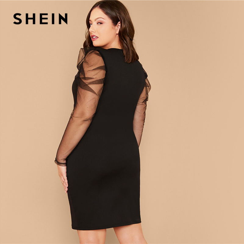 SHEIN Plus Size Black Sheer Gigot Sleeve Pencil Solid Dress Women Summer Autumn Long Sleeve Elegant Party Fitted Short Dresses 2