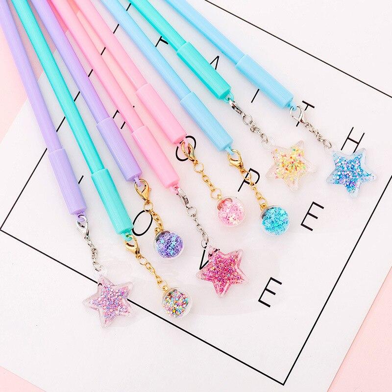 Korean Stationery Girls Creative Pendant Gel Pen Crystal Ball Star Pen For School Girls