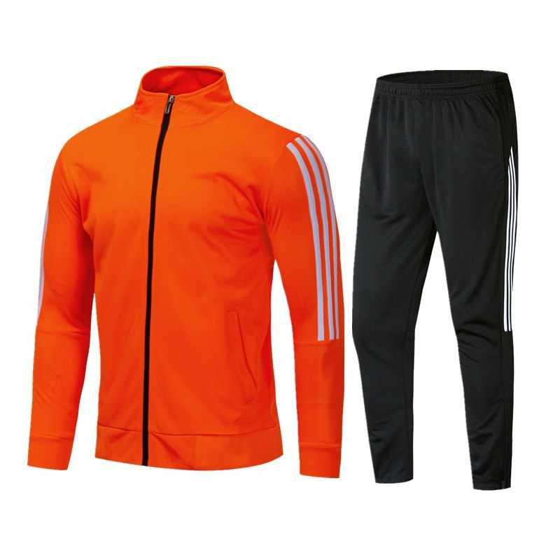 18-19 fußball training anzug Hosen track hosen und track jacke set männer schwarz sportswear Casual fashion outdoor sportswear
