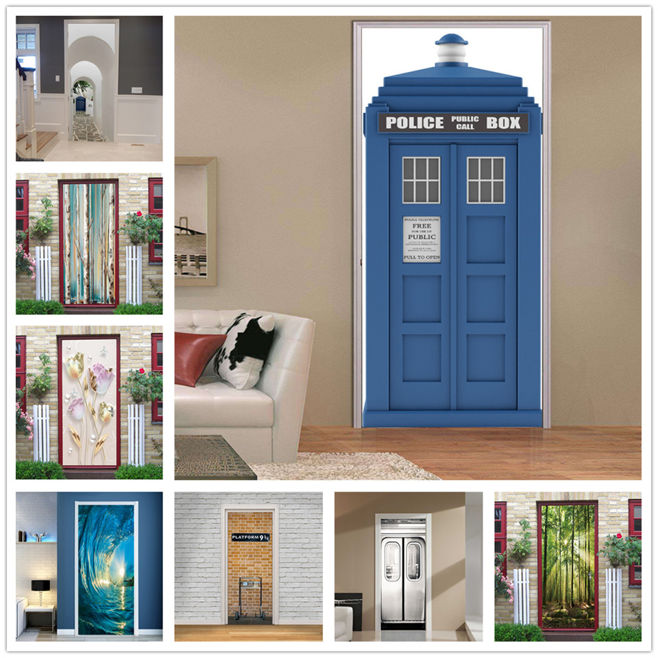 Blue Police Box Stickers On The Doors Self Adhesive Waterproof Wall Mural Decal Door Wallpaper DIY Home Design Autocollant Porte
