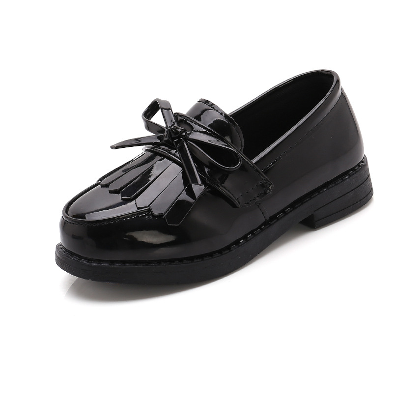 SKOEX Kids Princess Shoes Girls Mary Jane Flats Bowknot Tassle Leather Slip-on Party Dress Shoes Childrens School Uniform Shoes