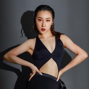 2020 Latin Dance Costumes For Women Sexy Deep V-Neck Tops Robe Danse Female Performance Latin Dance Wear Salsa Dress DQS4886(China)