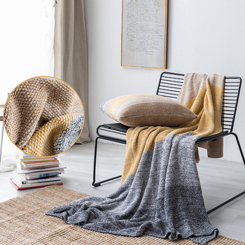 Winter Blanket Gradient Pillow Office Bedroom Living Room Sofa Office Warm Soft Comfortable Cotton Knitted Blankets for Beds